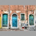 Three coloured doors
